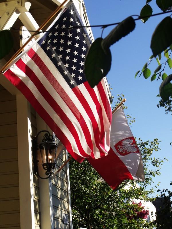 American and Polish flag